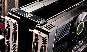 Solução com duas placas GTX 590 em SLI (tecnologia que permite combinar o processamento de duas ou mais placas de vídeo) (Foto: Divulgação)