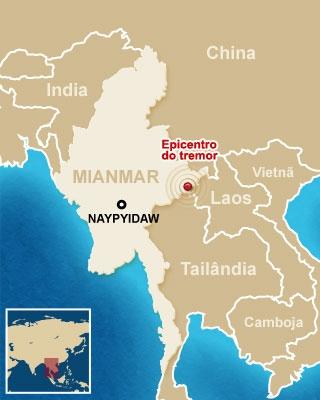 Mapa Terremoto em Mianmar (Foto: Editoria de Arte / G1)