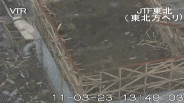 Prédio destruído do reator 1 é visto na quarta-feira (23) (Foto: AP)