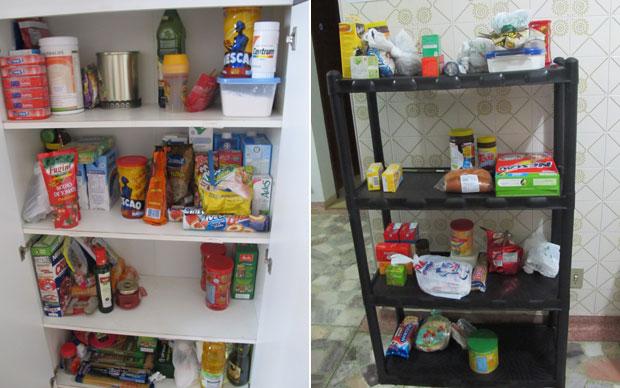 A dispensa com as comidas das meninas e a dos meninos (Foto: Vanessa Fajardo/G1)