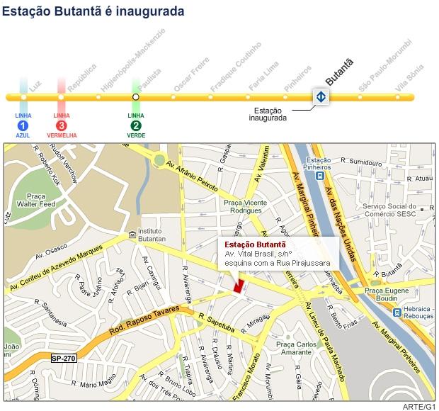 Mapa Metrô Linha Amarela (Foto: Editoria de Arte/G1)