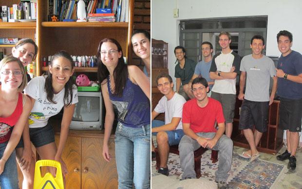 As meninas da república Olimpo e os meninos da Tangas, todos alunos da Unicamp (Foto: Vanessa Fajardo/G1)
