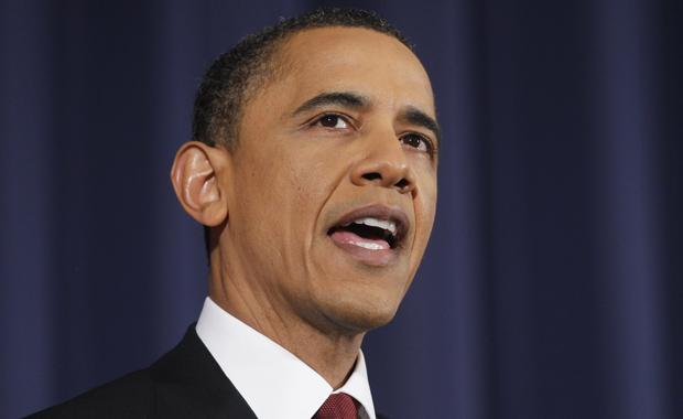 O presidente dos EUA, Barack Obama, fala sobre Líbia na noite desta segunda-feira (28) na National Defense University, em Washington (Foto: AP)
