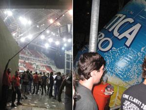 Cortina e balões de propaganda foram danificados depois do cancelamento (Foto: Tatiana Martins/G1)