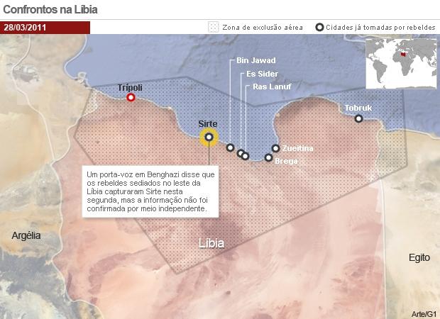 Confrontos na Líbia 28/03 (Foto: Editoria de Arte / G1)