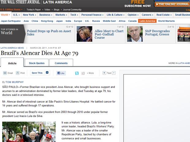 O 'Wall Street Journal', em sua edição online, lembrou que Alencar trouxe apoio empresaria à chapa do ex-líder sindical Lula, qualificando a aliança entre os dois em 2002 como 'histórica' (Foto: Reprodução)