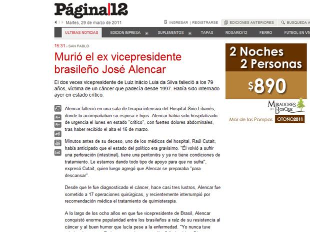 O argentino 'Pagina 12' lembrou a enorme popularidade que Alencar conquistou entre os brasileiros por conta de sua luta contra o câncer (Foto: Reprodução)