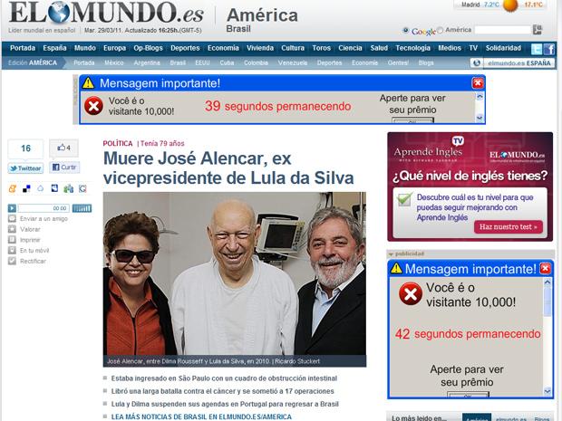 O espanhol 'El Mundo' disse que Alencar era o 'fiel escudeiro' do presidente Luiz Inácio Lula da Silva e citou que Lula chorou ao saber da notícia da morte. (Foto: Reprodução)