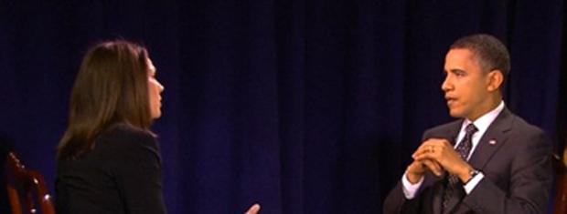 O presidente dos EUA, Barack Obama, é entrevistado por Erica Hill, da NBC, em Nova York nesta terça-feira (29) (Foto: AP)