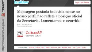 Mensagem publicada no Twitter de Secretaria de Cultura de SP (Foto: Reprodução)