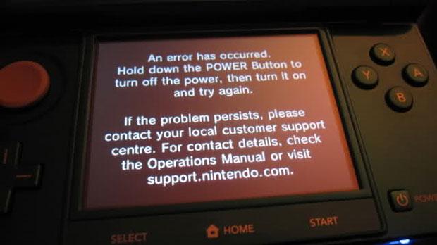 Imagem divulgada no fórum de games Neogaf mostra a mensagem de erro que aparece no travamento do Nintendo 3DS (Foto: Reprodução)