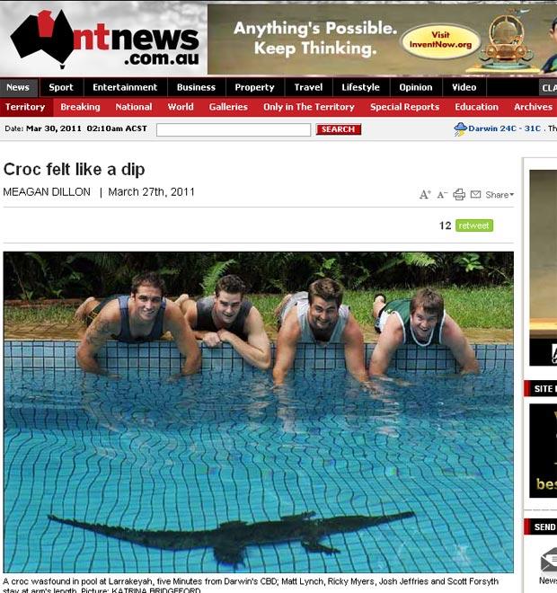 Crocodilo de 2 metros em piscina na Austrália