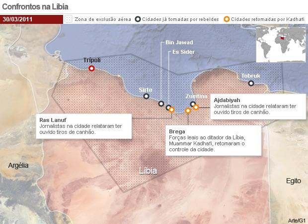 Conflitos na Líbia 30/03 (Foto: Editoria de Arte / G1)