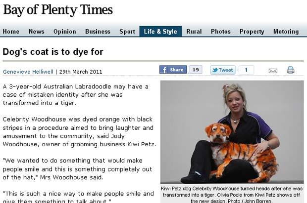 Jody Woodhouse pintou sua cadela de estimação para ela se parecer com tigre. (Foto: Reprodução)