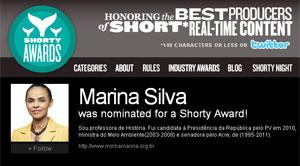 Marina Silva vence o Shorty Awards na categoria 'política'. (Foto: Reprodução)