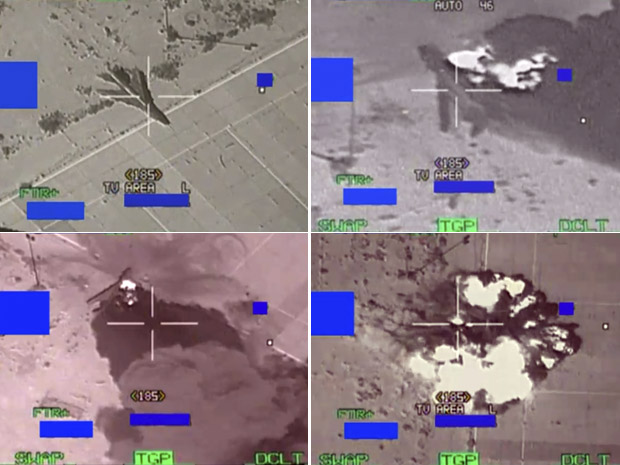 Sequência de imagens mostra o momento em que um caça da Força Aérea belga acerta um avião líbio durante operação no domingo (27); de acordo com o Ministério da Defesa belga, o caça disparou bombas contra aeronaves líbias e um abrigo  (Foto: elgian Army / Reuters)