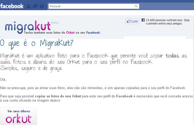 """Aplicativo """"MigraKut"""" deve ser instalado no perfil do Facebook (Foto: Reprodução)"""
