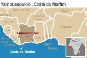 mapa costa do marfim (Foto: Editoria de Arte / G1)