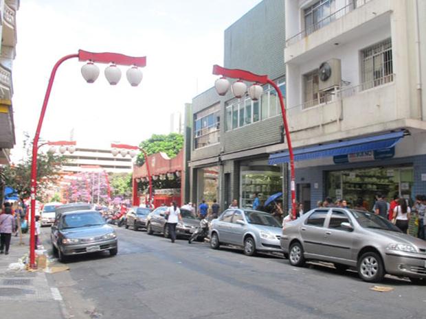 Rua de comércio no bairro da Liberdade, na região central de São Paulo (Foto: Letícia Macedo/ G1 )