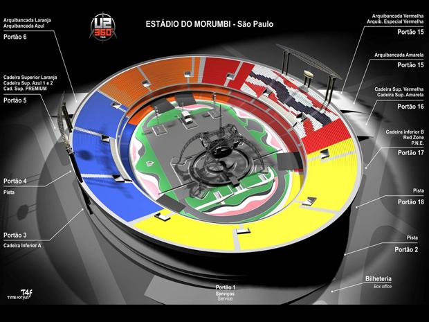 Mapa do estádio do Morumbi traz detalhes dos portões de acesso e das áreas (Foto: Divulgação)