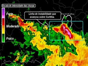 Chuva derrubou árvores, alagou casas e deixou mais 100 mil residências sem energia elétrica em Curitiba. (Foto: Simepar)