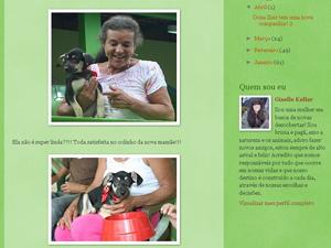 Reprodução do blog da veterinária mostra momento do encontra de Dona Ilair e Fadinha (Foto: Thamine Leta/G1)