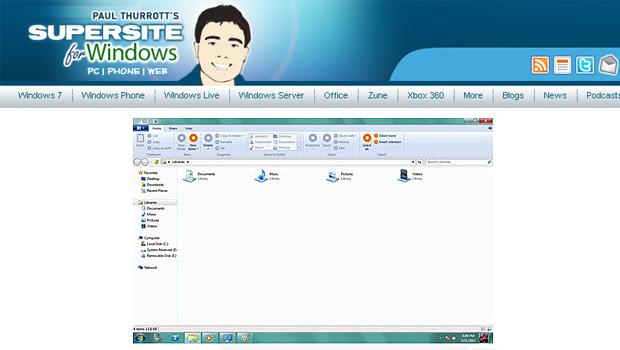 Site revelou imagens de como seria o Windows Explore na versão beta do novo sistema operacional (Foto: Reprodução)