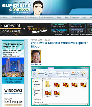 Site mostrou imagens da interface Ribbon no Windows Explore (Foto: Reprodução)