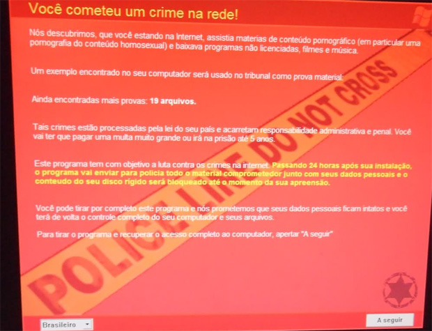 Mensagem afirma que usuário baixou conteúdo pirata e pornografia homossexual (Foto: Arquivo pessoal/Bráulio Gomes)