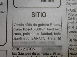 Anúncio da venda do sítio do goleiro Buuno em Esmeraldas publicado em jornal da capital mineira na última semana (Foto: Foto reprodução)