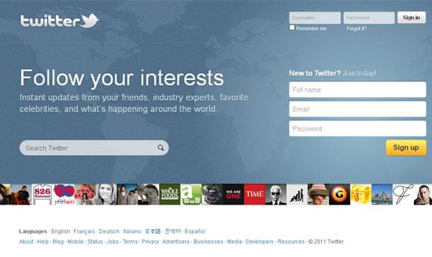 Nova página inicial do Twitter (Foto: Reprodução)