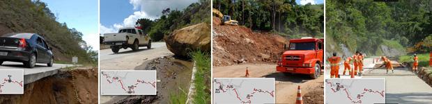Estradas ainda são precárias na Serra (Estradas são precárias 3 meses após chuva (Alexandre Durão / G1))