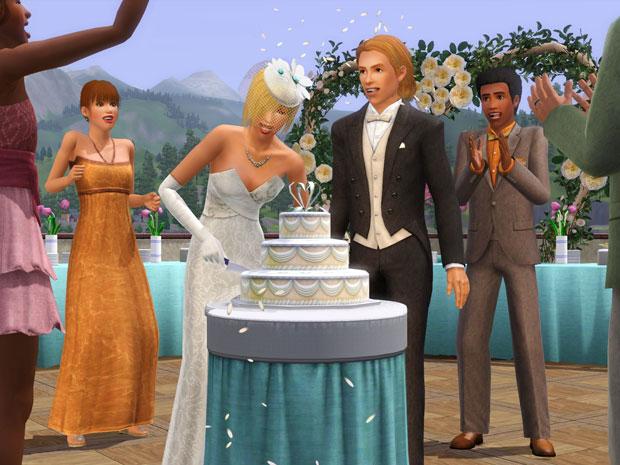 Momentos como o casamento podem ser fotografados e enviados ao Facebook na expansão 'Gerações', do jogo 'The Sims 3' (Foto: Divulgação/EA)