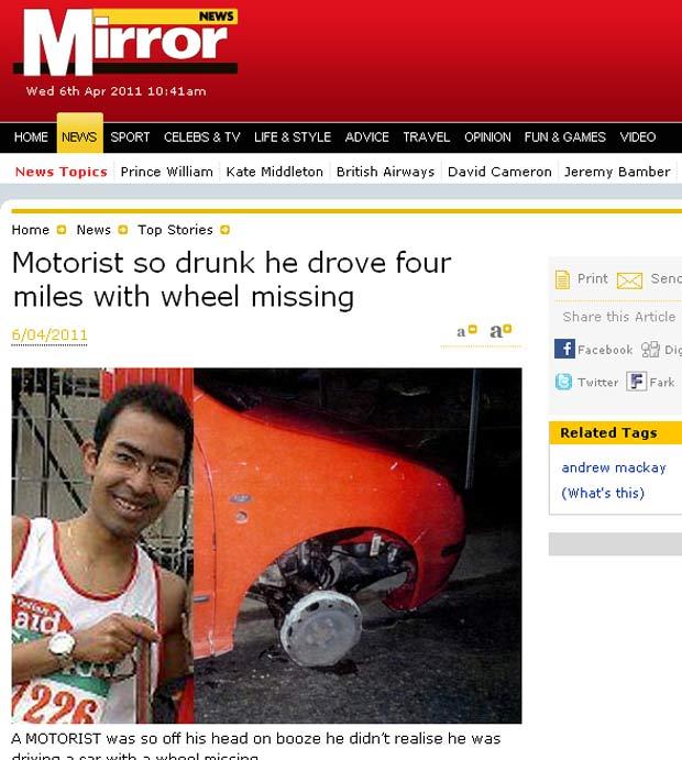 Motorista não percebeu que havia dirigido por mais de 6 quilômetros sem uma das rodas. (Foto: Reprodução/Daily Mirror)