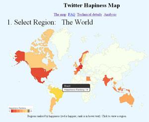 Mapa dos países que publicam tuítes 'felizes' (Foto: Reprodução)