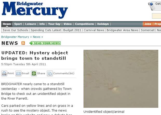Objeto misterioso intriga moradores no Reino Unido. (Foto: Reprodução/Bridgwater Mercury)