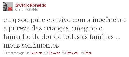 O ex-jogador Ronaldo lamenta a tragédia em Realengo (Foto: Reprodução)