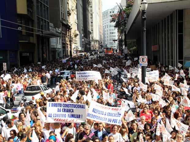 manifestação professores (Foto: Luis Cleber/Agência Estado)