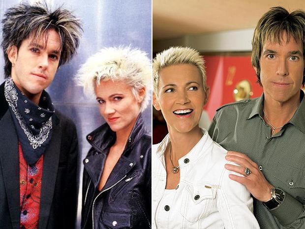 Roxette em duas fases: no final da década 1980 e hoje, 20 anos depois (Foto: Divulgação)