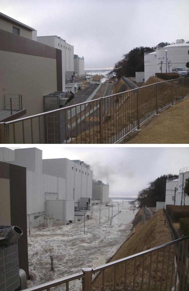 Imagens mostram a usina nuclear de Fukushima Daiichi momentos antes (acima) e logo depois (abaixo) da chegada do tsunami que devastou regiões da costa do Japão em 11 de março. A imagem foi divulgada pela Tepco, empresa que administra a danificada usina, n (Foto: REUTERS/Tokyo Electric Power Co/Handout)