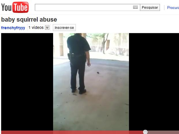 Policia usa gás de pimenta contra bebê esquilo em vídeo (Foto: Reprodução de vídeo)
