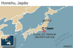 mapa terremoto 11/4 (Foto: Arte G1)
