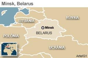 Mapa mostra capital de Belarus, Minsk (Foto: Editoria de Arte / G1)