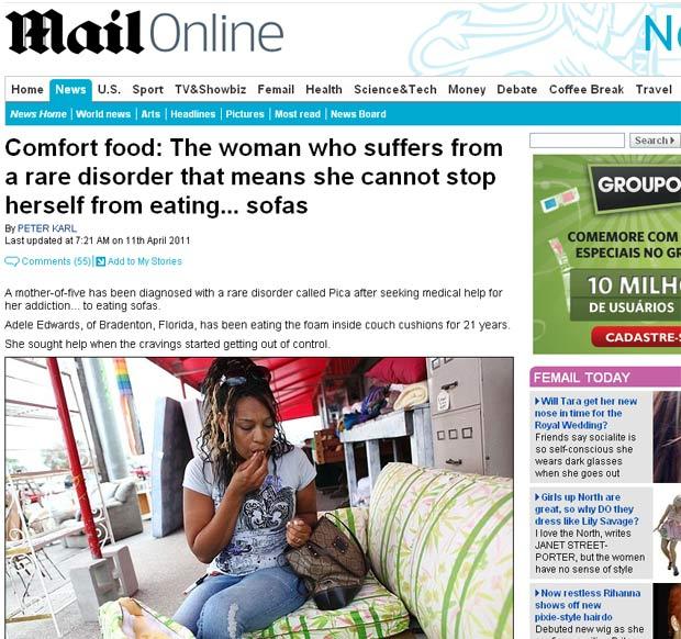 Adele Edwards, de 31 anos, é viciada wm comer espuma de sofá. (Foto: Reprodução/Daily Mail)