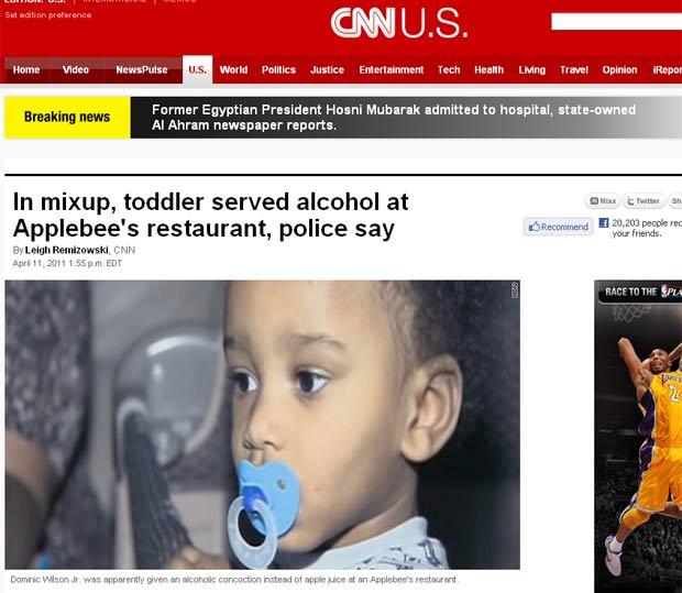 Em vez de suco, restaurante serviu bebida alcoólica para Dominic Wilson. (Foto: Reprodução/CNN)