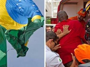 Bandeira queimada na Praça dos Três Poderes; homem que ateou fogo à bandeira acabou preso  (Foto: Dorivan Marinho/Futura Press)