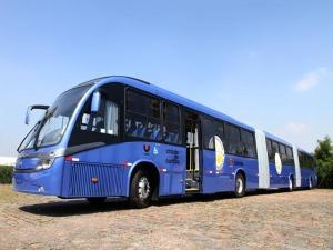 Ligeirão azul roda com biocombustível à base de soja (Foto: Prefeitura de Curitiba / Divulgação)