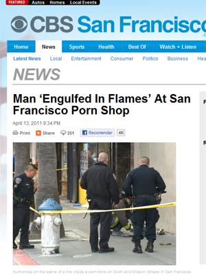 Vítima de incêndio é socorrida na quarta-feira (13) em San Francisco, na Califórnia (Foto: Reprodução)