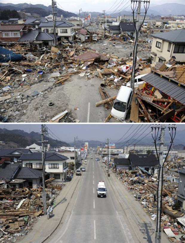 Imagens mostram rua da cidade de Ofunato, na prefeitura japonesa de Iwate, em 14 de março (acima), destruída pelo terremoto seguido de tsunami, e nesta sexta (abaixo), com a rua já limpa dos destroços. (Foto: AFP)