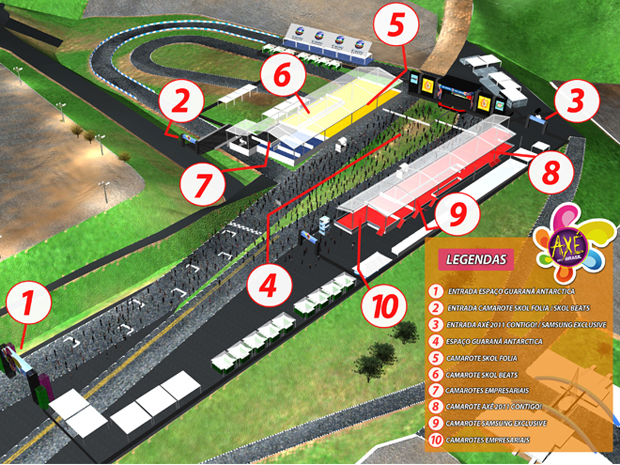 Mapa mostra portões de entrada e acesso às áreas de estacionamento (Foto: Divulgação)